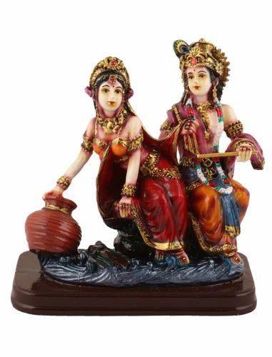 Multicolor Radha Krishna Poly Resin Idol Statue Showpiece