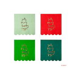 Cotton solid color with printed Christmas Napkin, For Coasters, Size: 11x11cms