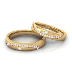 Couple Real Diamond Wedding Band 10k Yellow Gold