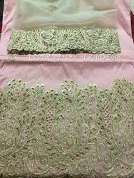 Baby Pink Heavy Embroidered George with Blouse, Packaging Type: Flyer Or Box