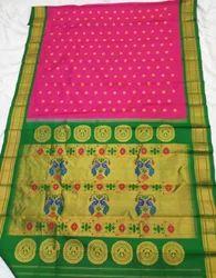 Rani Silk Pure Maharani Paithani Sarees, With Blouse Piece, Hand Made