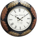 Black Wood Carving Wall Clock