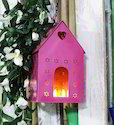Craftkriti Pink Hut Metal Bird House