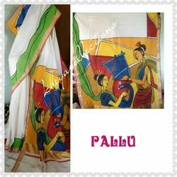 Green Hand Painted Kerala Cotton Saree