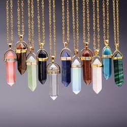 Gemstone Hexagonal Pointed Pendant Necklace