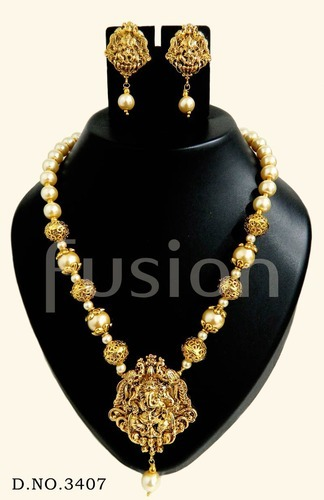 Temple Jewellery Set - South Indian Antique Temple Pendant