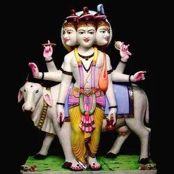 Duttatreya Bhagwan White Marble Statue Murti