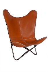 Brown Leather Butterfly Chairs