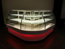 Bombay Steel Glass, SS Angulo Curved Shape Bakery Display Counter