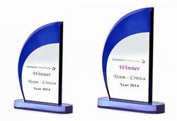 Glass Multicolor Blue Swoop Acrylic Trophy