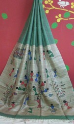 Handloom Tussar Geecha Hand Painted Silk Saree