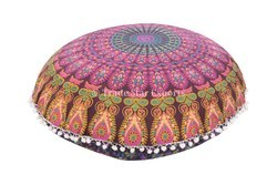 Floral Round Meditation Pillow Cover