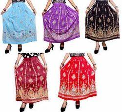 Rayon Crinkle Skirt Embroider Sequins Work Long Skirt Wrap