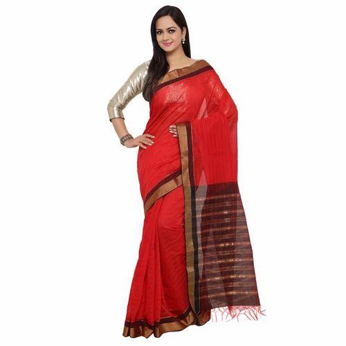 Temple Border Party Wear Silk Cotton Saree, 5.2 m (separate blouse piece)