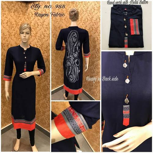 Rayon Straight Designer Long Kurtis with Embroidery