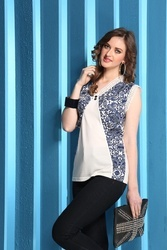 Cotton Printed ST 1613 Sleeve Less Trendy Top