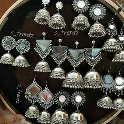 Silver Iron Round Earring