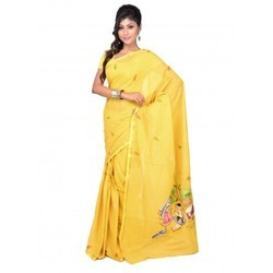 Cotton Thread Work Yellow Saree