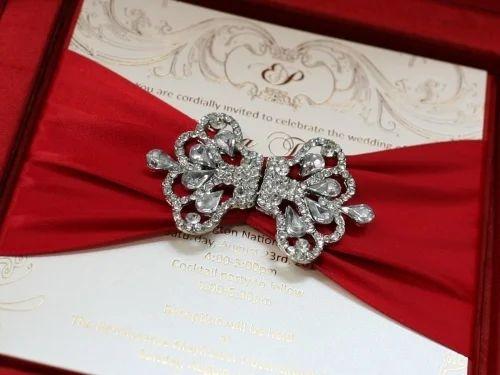 Red Silk Wedding Invitation Box