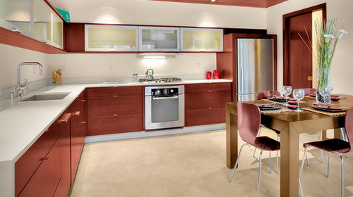 Italian Aluminium Modular Kitchen L Shaped Modular