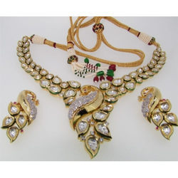 Ultra Shine Spica 925 Sterling Silver Kundan Necklace Set