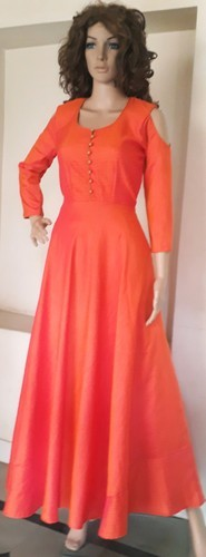 9737bdd2ca37 Female Silk Long Frock With Cold Shoulder Sleeves