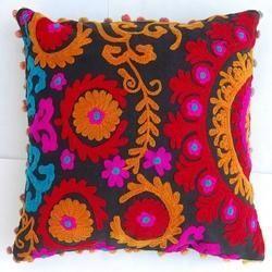 Suzani Embroidered White Cushion Cover