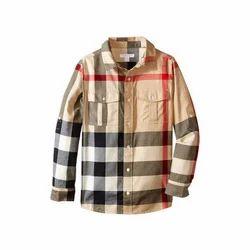 Regular Wear Kids Check Cotton Shirt