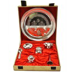 Silver Plated Pooja Thali For Diwali