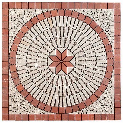 Elegant Flooring Red White Stone Mosaic Tiles, Thickness: 6 - 8 mm