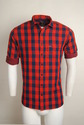 Red Checked Urban Design Casual Shirts