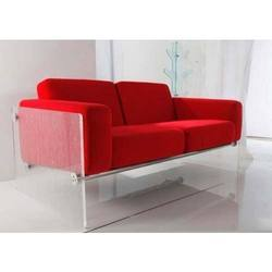 Red Acrylic Two Seater Sofa, Living Room