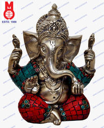 Ganesh W/ Out Base W/ Stone Work Statue