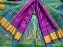 Real Zari Gold Gadwal Silk Zari Checks Purple Saree