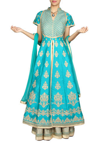 33136a6391 Gold And Green Designer Jacket Anarkali Suit at Rs 18020 | Mumbai ...
