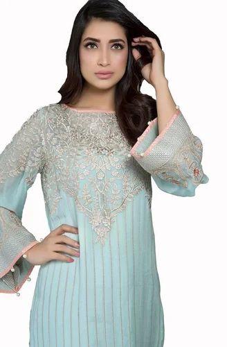 24e78f224c04d Baroque Aqua Lush Brasoo Chiffon Dress at Rs 1850 | शिफॉन की ...