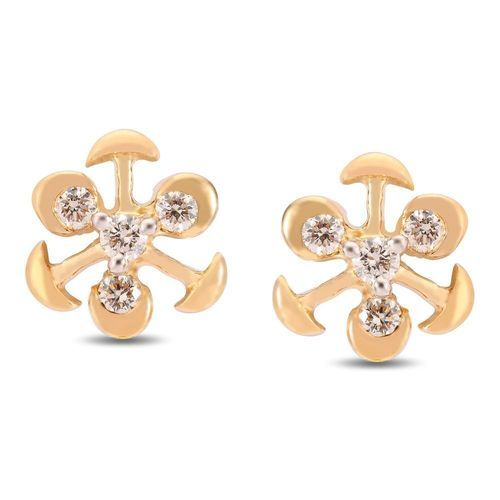 classic diamond set basket studs round tension prong yellow cut earrings gold view stud back