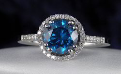 Beautiful 1.20Ct Real Brilliant Cut Blue Diamond Ring