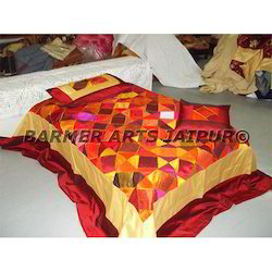 Designer Bed Sheets Silk Patchwork Embroidery