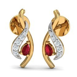 Maroon Stone Woman Diamond Earring