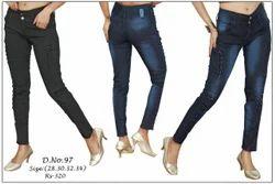 Button & Zipper Blue Site Pattern Ladies Jeans