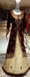 Maroon And Golden Ladies Designer Gown