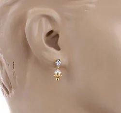 18 K Yellow Gold Swarovski Crystal Drop Earring