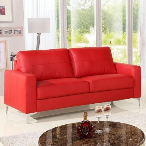 2 Seater Red Leather Home Sofa, Surya Industries | ID: 10521486930