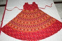 Sanganeri Print Long Red Dress