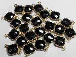 Black Onyx Bezel Set Gemstone Connector