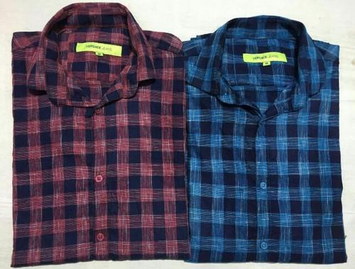 Checked Cotton Check Shirt, Size: 38