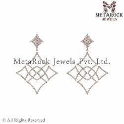 Pave Diamond Rose Gold Dangle Earrings