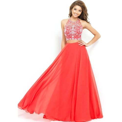 Party Wear Long Skirt And Crop Top, Ladies Dresses, Apparels ...