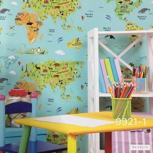 Blue Yellow Korean Paper World Map Wallpaper Size 57 Sq Ft